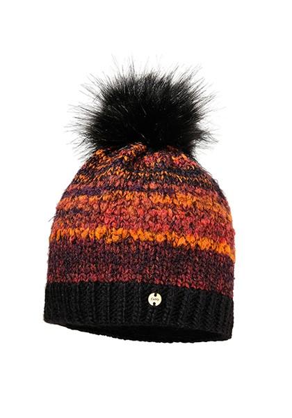 CAPO-MUFFIN CAP fake fur pompon, short fleece lining