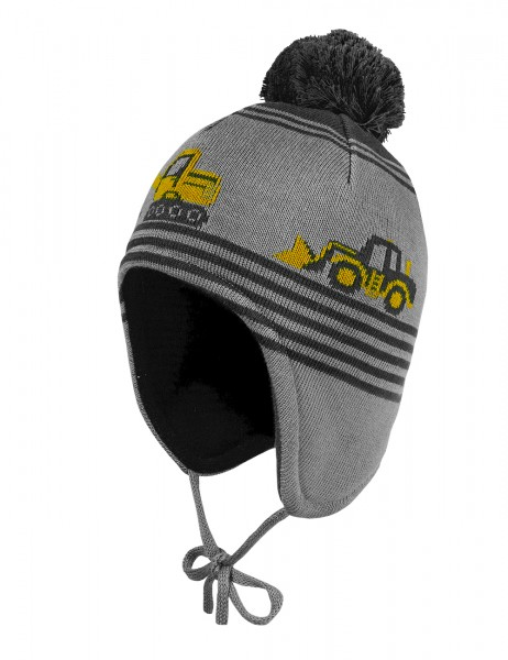 MINI BOY-Mütze, ausgenäht Baustelle, Pompon