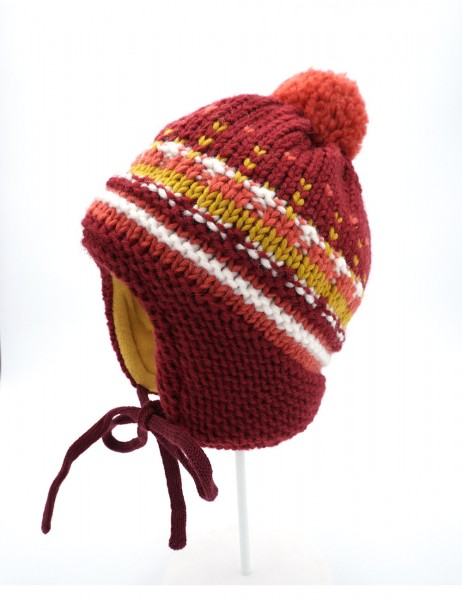 MINI-Mütze, ausgenäht Grobstrick, bunt, Pompon