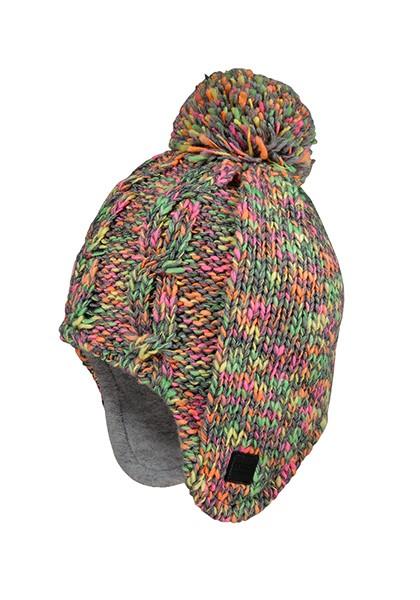 KIDS GIRL-Mütze, Zopfstruktur ausgenäht, Pompon, Effektgarn