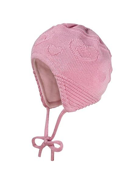BABY GIRL-Mütze, ausgenäht Struktur Herzen, Futter