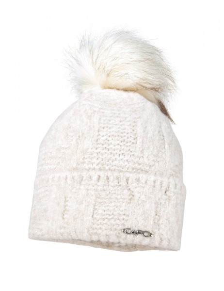 CAPO-CLOUD CAP knitted cap, turn up, fake fur pompon