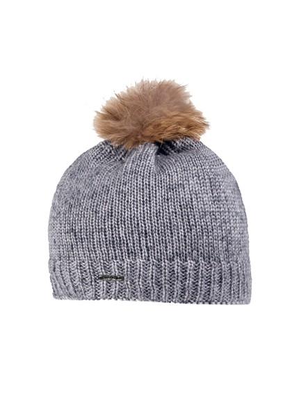 CAPO-GLAMOUR CAP fake fur pompon, double layer