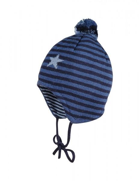 BABY BOY-Mütze ausgenäht Jacqu.,Ringel m.Stern, Pompon