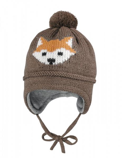 MINI BOY-Mütze, ausgenäht Intarsie Fuchs, Pompon