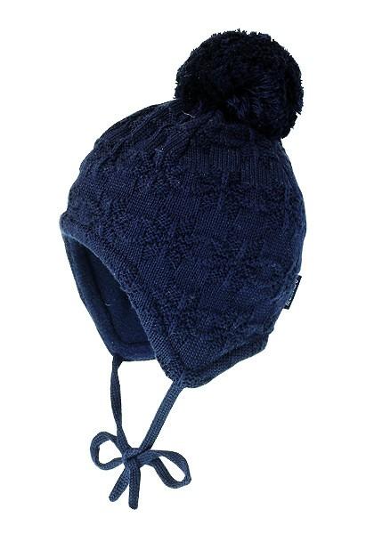 JANNE-Mütze ausgenäht Struktur Norwegerstern, großes Pompon