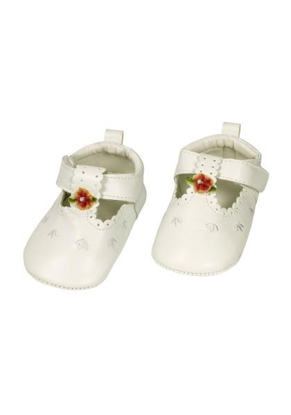 Baby-Schuhe festlich, Blüte Klettverschluss, PU-Sohle mit Bär