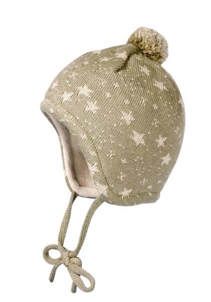 BABY-Mütze, ausgenäht Jacqu. Sterne, Pompon