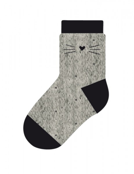 MINI GIRL-Socke, Schnurrhaar Glitzi glatt
